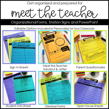 Meet the Teacher and Back to School Organization