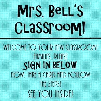 Meet the Teacher Night Directions and Sign in Sheet