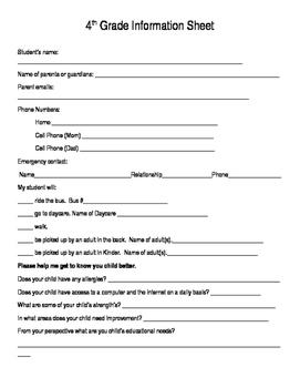 Meet the Teacher Night Editable Information Sheet (English