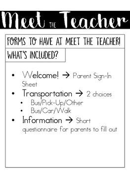 Meet the Teacher Night Forms