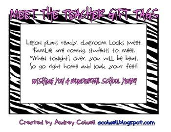 Meet the Teacher Night Gift Tags