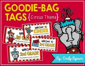 Meet the Teacher Night Goodie Bag Tags! (CircusThemed!)