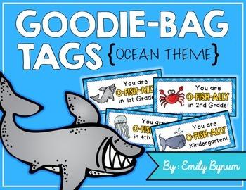 Meet the Teacher Night Goodie Bag Tags! (Ocean Themed!)