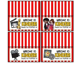 Meet the Teacher Night Goodie Bag Tags! (Popcorn/Movie Themed!)