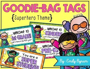 Meet the Teacher Night Goodie Bag Tags! (Superhero Themed!)