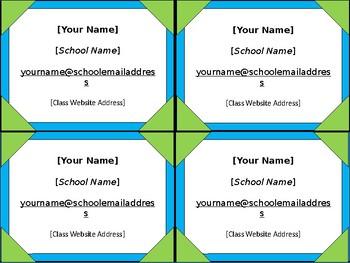 Meet the Teacher Night Info Cards - 8 Styles - Angle Frames