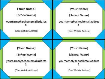 Meet the Teacher Night Info Cards - Lime & Teal - Angle Frames