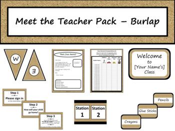 Meet the Teacher Night Pack - Burlap {Editable}