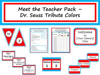 Meet the Teacher Night Pack - Dr. Seuss Tribute Colors {Editable}