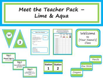 Meet the Teacher Night Pack - Lime & Aqua {Editable}