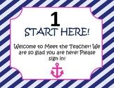 Meet the Teacher Night Packet Pink and Navy Nautical