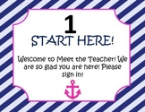 Meet the Teacher Night Packet Pink and Navy Nautical