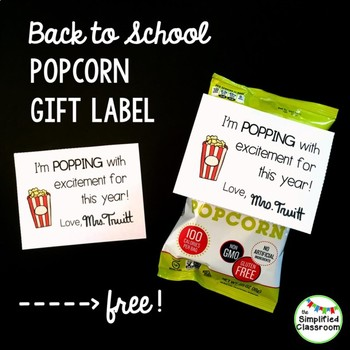 Meet the Teacher Night / Parent Orientation - Popcorn Gift