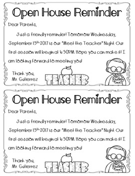 Meet the Teacher Night Reminders