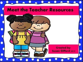 Meet the Teacher Night Resources