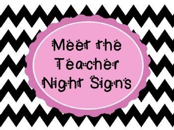 Meet the Teacher Night Signs