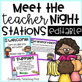 Meet the Teacher Night Stations- EDITABLE