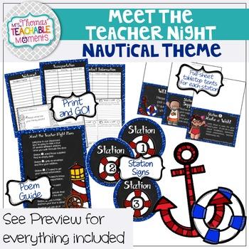 Meet the Teacher Night Stations - Nautical Theme