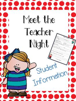 Meet the Teacher Night - Student Information Sheet