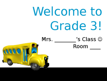Meet the Teacher Night Welcome to Grade 3 Curriculum Slideshow *Editable*