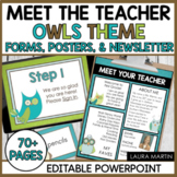 Meet the Teacher Open House EDITABLE templates Owl Theme | Back to School