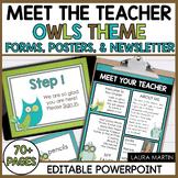 Meet the Teacher Open House EDITABLE templates Owl Theme |