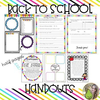 Back to School Handouts BUNDLE