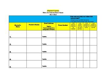 Meet the Teacher/Open House Parent Sign-In Sheet