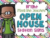 Meet the Teacher Open House Station Signs- Bright Theme