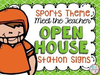 Meet the Teacher Open House Station Signs- Sports Theme