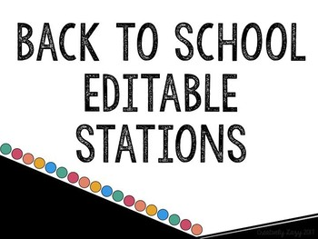 Meet the Teacher/Open House Stations