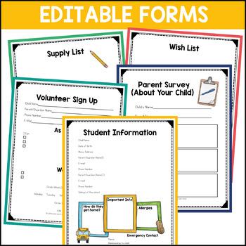 Meet the Teacher and Open House Editable Printables and Powerpoint