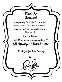 Meet the Teacher Packet *Editable*