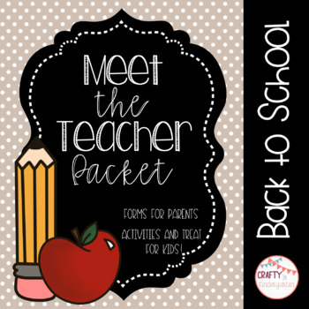 Meet the Teacher Packet - Forms and Activities for Kids!