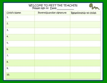 Meet the Teacher Packet  Safari and Jungle Theme Stations