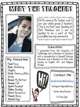 Meet the Teacher Page Editable