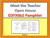Meet the Teacher Pamphlet, EDITABLE (Open House) grade 2