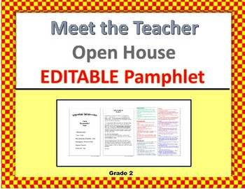 Meet the Teacher Pamphlet, EDITABLE (Open House) grade 2