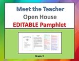 Meet the Teacher Pamphlet, EDITABLE (Open House) grade 3