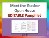 Meet the Teacher Pamphlet, EDITABLE (Open House) grade 2/3