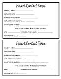 Meet the Teacher Parent Contact Form