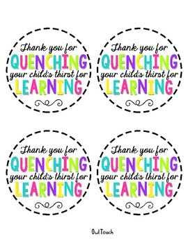 Meet the Teacher Parent Water Tags