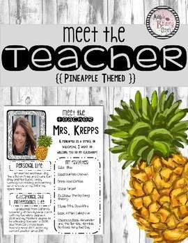 Meet the Teacher (Pineapple Themed) Editable