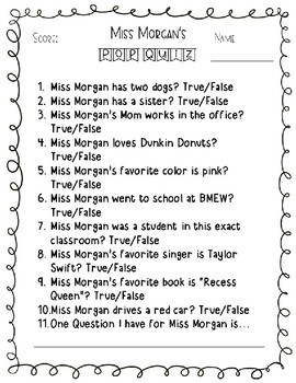 Meet the Teacher Pop Quiz-editable