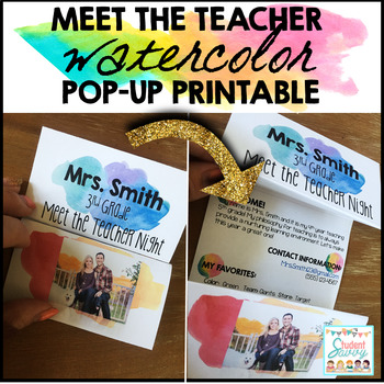 Meet the Teacher Pop Up Watercolor - Editable