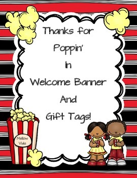 Meet the Teacher Popcorn Themed Banner and Tags