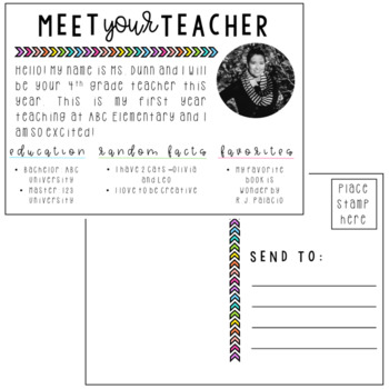 Meet the Teacher Postcards | Editable