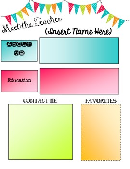 Meet the Teacher Poster Template