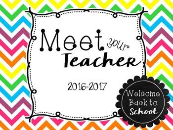 Meet the Teacher PowerPoint Presentation (Open House) - Chevron Rainbow