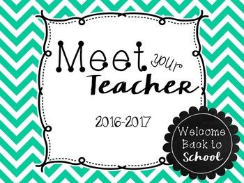 Meet the Teacher PowerPoint Presentation (Open House) - Turquoise